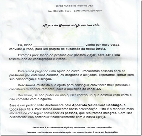 Suposta carta da Igreja Mundial do poder de Deus causa polêmica. Agreste News Revista.